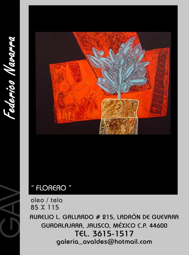 """""""Florero"""" El contraste de los ocres, bermellón, con el azul del tema se logra sólo con una gran experiencia en el quehacer pictórico"""
