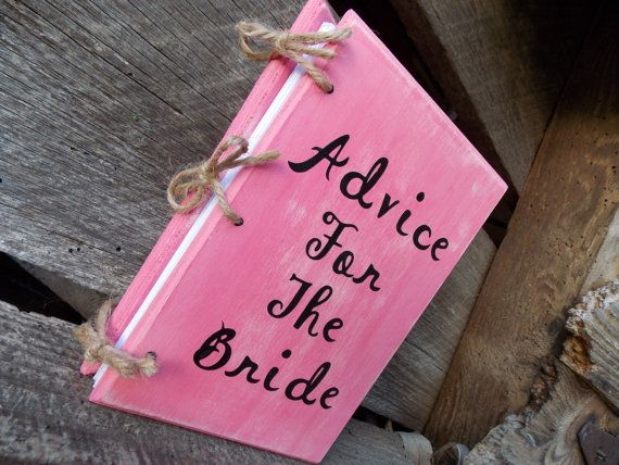 Shabby Chic Bridal Shower Advice For The Bride Book Country Wedding Guest Book Wood Cover Book Distressed Chic Wedding Planner Book