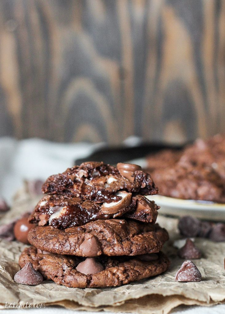 These Chocolate Malt Ball Cookies are dense chocolate fudge cookies packed with malted milk powder, chocolate chips, and malt balls. These quick and easy treats will fly off the cookie plate!