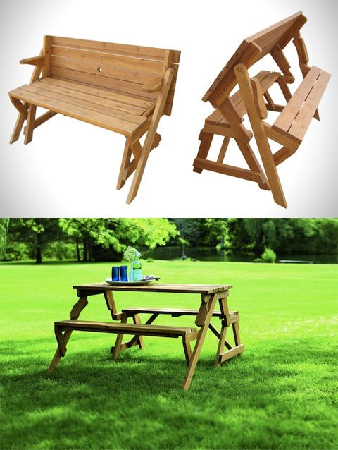A Garden Bench Turns Into A Picnic Table For The Home