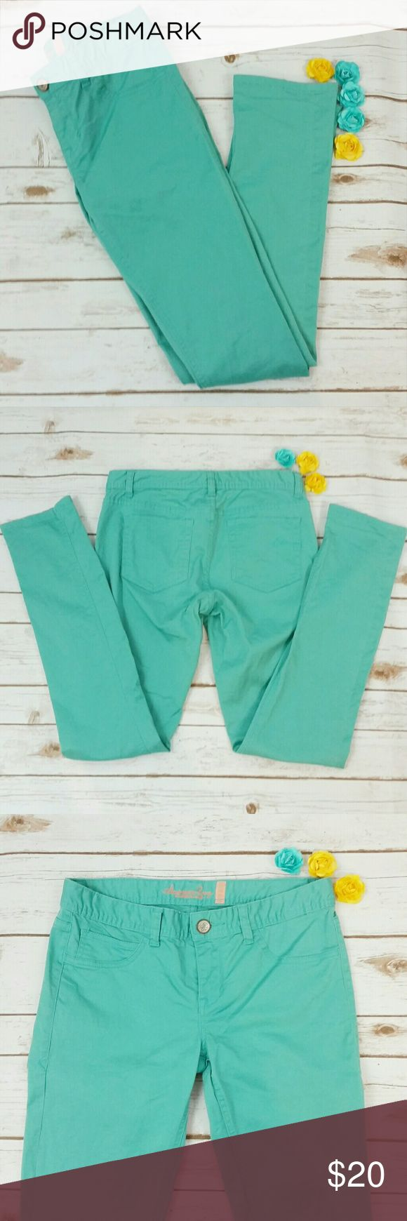 """American Rag teal curvy skinny jeans These teal jeans are curvy skinny 5-R. Waist is approx 30"""", length is approx 39"""". 98% cotton, 2% spandex. American Rag Jeans Skinny"""