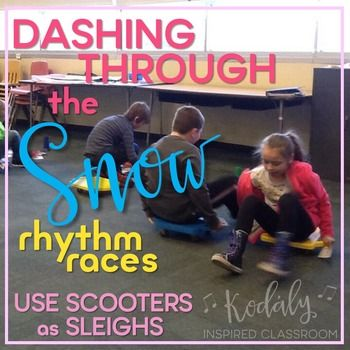 Elementary Music Rhythm Games for Winter - Dashing Through the Snow Rhythm Races Bundle - This set is perfect for winter time in the music room, before or after Christmas break! Four teams race on sleds (scooters) to find the correct rhythms for their team. Your students will enjoy this competitive game all while practicing listening to, decoding and reading rhythms! #musiceducation #kodalyinspiredclassroom #iteachmusic #kodaly #orff #elmused #musedchat: