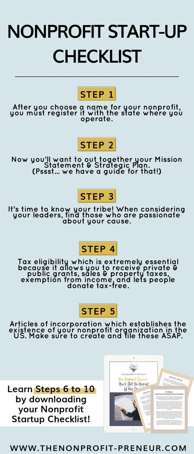 Looking To Start A Nonprofit Here Is Your Checklist Download Your Free Nonprofit Roadmap To Success Nonprofit Startup Nonprofit Marketing Business Checklist