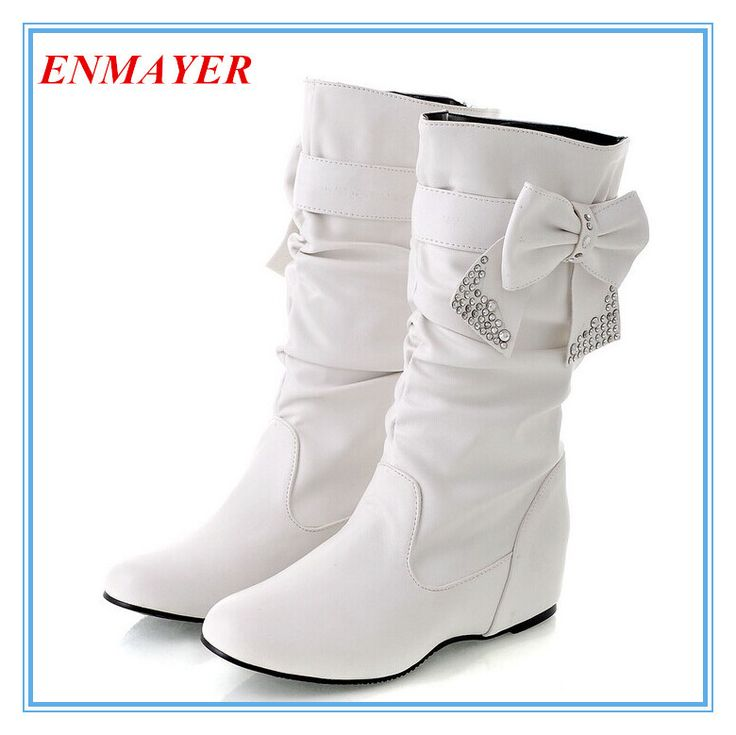 """ENMAYER Big size 34-47 Hot New 2014 Fashion flat Low Wedges boots for women, snow boots and women Spring winter shoes Bow BOOTS $<span itemprop=""""lowPrice"""">52.00</span> - <span itemprop=""""highPrice"""">58.00</span>"""