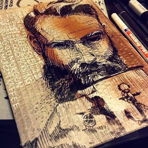 Does it get any cooler than being included in someone else's portrait?!! WOW! We saw this in our feed last night and were blown away and felt very honored. Artist @dorosbilderrausch hashed out this likeness of Bearded Villian @danielwth and right...