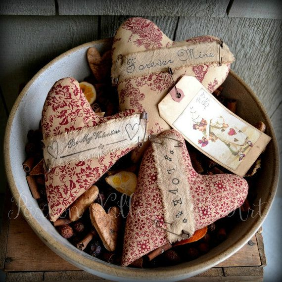Valentine Heart Bowl Fillers Three Rustic Love Hearts Vintage Cottage Shabby Chic Valentines Day Decorations