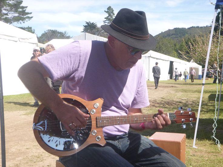 Slide master Tony Burt, Wellyfest 2015, ripping it up on the Resobarinator.