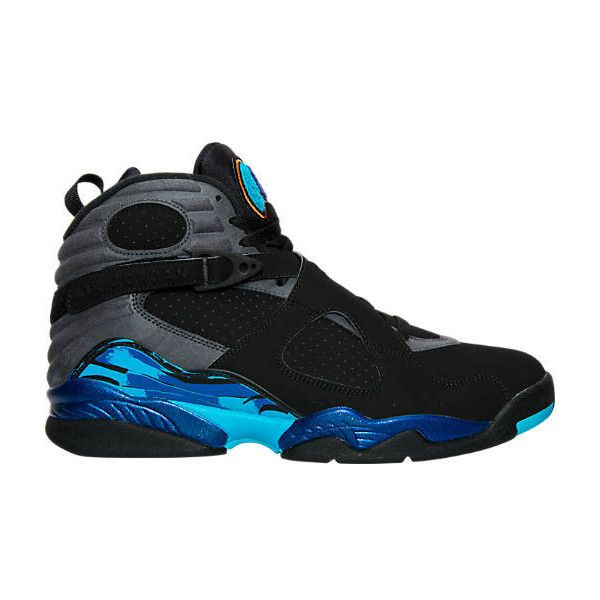 Nike Men's Air Jordan Retro 8 Basketball Shoes ($190) ❤ liked on Polyvore featuring men's fashion, men's shoes, men's athletic shoes, mens pointed shoes, mens retro shoes, mens leather shoes, mens blue shoes and mens pointy shoes