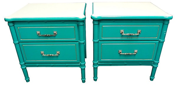 One Kings Lane - Fun in the Sun - Turquoise Faux-Bamboo Nightstands, Pair