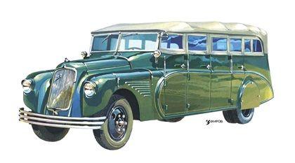 Курортный автобус НАТИ на шасси ЗИС-8, 1935  - Рисунок А. Захарова / Из коллекции «За рулём» 1985-4