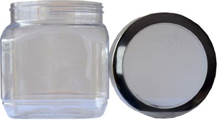 Buy #Milton Crisp N Clear Square 1000 ml SS Lid Plastic Food Container - Storage Jars and more #Homeware, #Kitchenware and #Cookware products at Popat Stores. #StorageJars