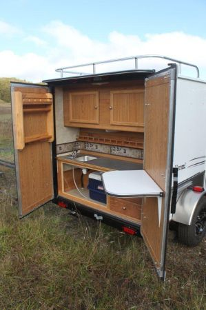 """2012 NEW Backpacker II Trailer; full-sized galley, storage rack, 60""""x80"""" inside - I might be in love..."""