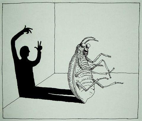 """""""Als Gregor Samsa eines Morgens aus unruhigen Träumen erwachte, fand er sich in seinem Bett zu einem ungeheueren Ungeziefer verwandelt."""" von Franz Kafka"""