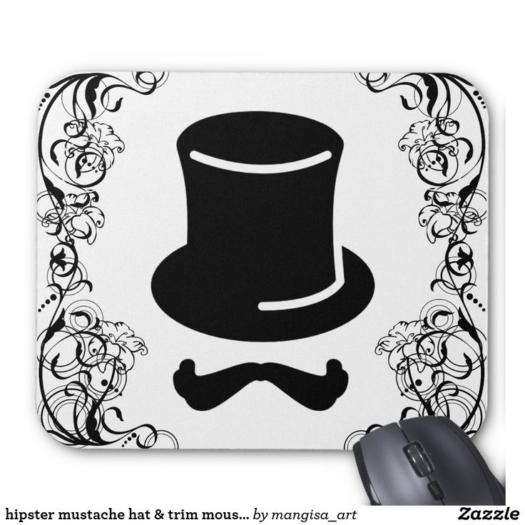 hipster mustache hat & trim mouse pad