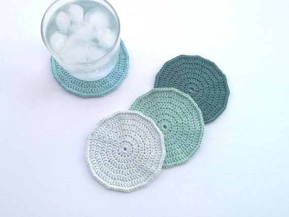 Coasters Crochet Coasters Drink Coasters by AGirlNamedMariaDK #coasters #coaster #crochet #crocheted #drink #drinks #beverage #tableware #drinkware #tablesetting #party #entertaining #glass #mug #cup #tea #coffee #dinner #table #guests #decorating #home #decor #summer #spring #green #moss #aqua #mint #mist #pastels #pastel #ombre