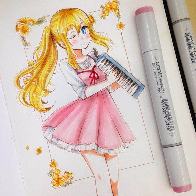 Kaori 💕😊 small drawing for @rinchan_drawinqs 😳💖 (im still finishing christmas presents 😅) I hope youre having a good day guys!!! 🙈💕💖 #drawing #traditionalart #traditional #animeart #anime #instaart #instaanime #kawaiigirl #kawaii #cuteart #cute #moe #copicart #artists #artistoninstagram #animestyle #artoftheday #copic #animegirl #cutecute #instaartist #cuteanime #animedraw #mangagirl #fanart #animefanart #kaori #kaorimiyazono #yourlieinapril