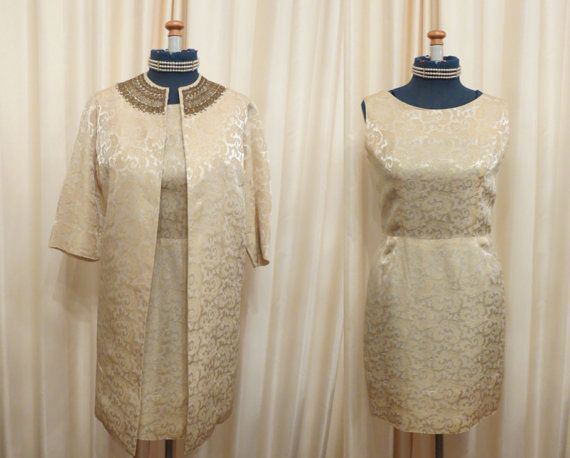 Vintage 2 Piece David Jones' For Service Gold Brocade Mini by MTTC