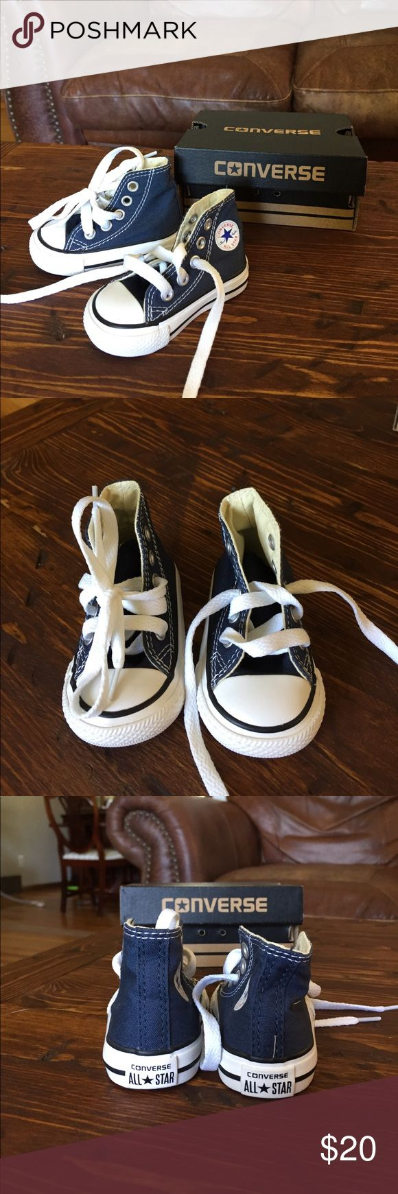 New Baby Navy Converse High tops Size 2 Navy blue Converse shoes size 2 Brand New still in the box. Converse Shoes Sneakers