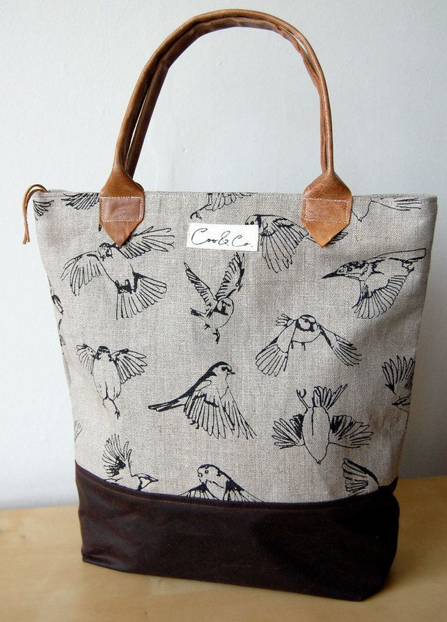 Linen Day bag screen-printed with flying British garden birds