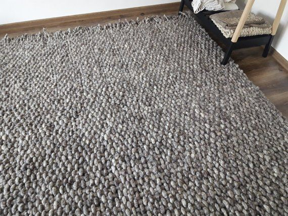 Wool Rug 8x10 Living Room Rug Handmade Woven Area Rugs Gray