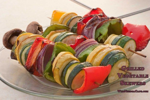Grilled Vegetable Skewers!  A delish Vegetarian Dish or a perfect grilled side!  YUM!