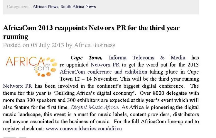 #AfricaCom 2013 reappoints #NetworxPR for the third year running
