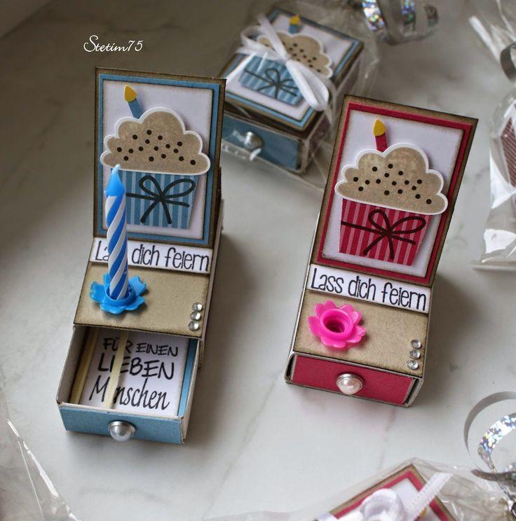 Grüß Euch!   Bei Simone  habe ich neulich total geniale Micro-Kartenboxen in Easelform gesehen.   Die sind sowas von putzig und zum Geburtst...
