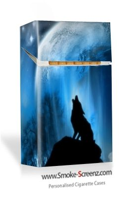 Personalised cigarette case with a fantasy 'howling wolf' design via www.smoke-screenz.com