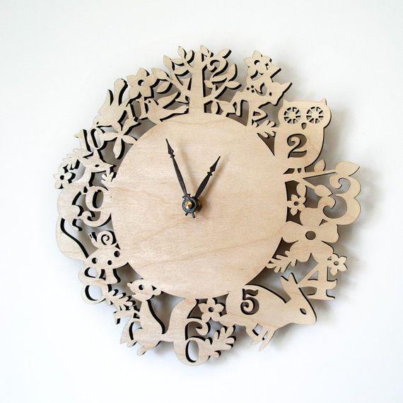 Laser cut wood forest clock