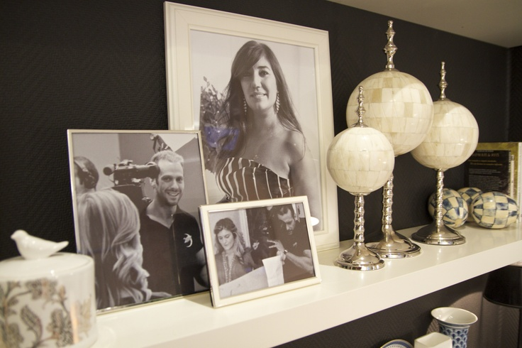Project by Ana Antunes - Dining Room for all the tv show team - Black & White & Blue, black walls