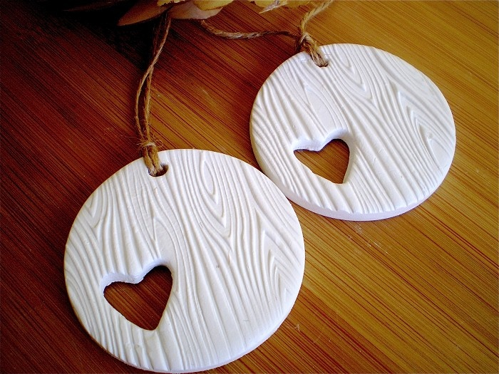 Tree of Love Tags (2) - Woodgrain embossed - White Clay - by redpunchbuggy on madeit
