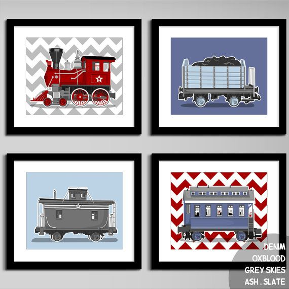 Train nursery art - chevron wall art prints - set of 4 childrens art prints - pick your colors, nursery art prints for boys