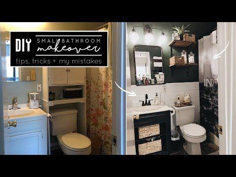 Diy Small Bathroom Makeover Youtube Small Bathroom Makeover