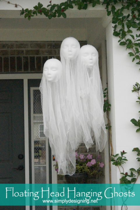 Foam mannequin heads and cheese cloth are the keys to these creepy porch…