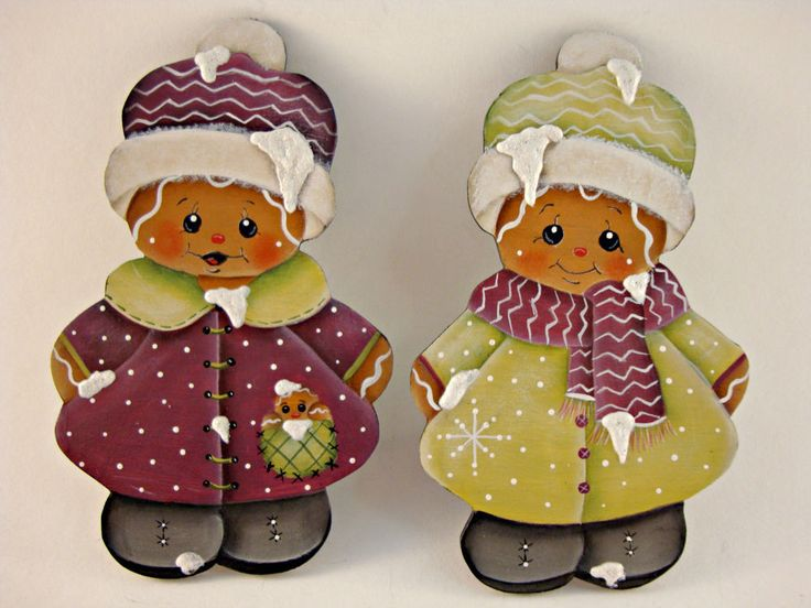 HP Gingerbread Twin Fridge Magnets - Set of Two - Purple and Olive