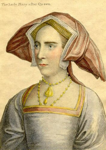Lady Mary Tudor, daughter of Henry VIII. Based on a sketch Holbein of Mary Tudor as Lady at her father's court.
