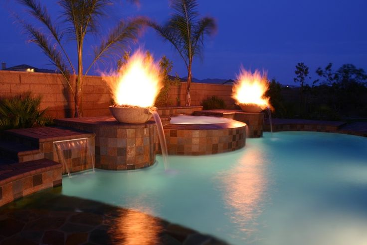 Waterfall and fire pool fountain of youth pinterest - Pool fire bowls ...