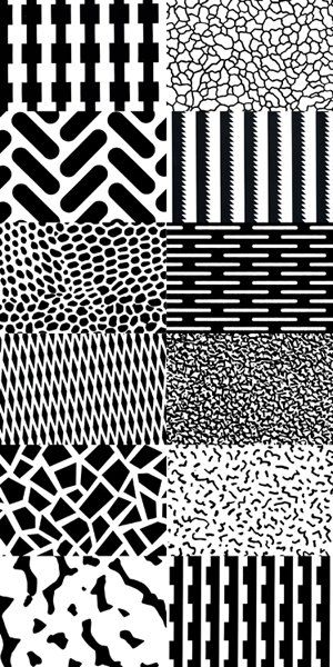 Memphis Milanoesque mono patterns