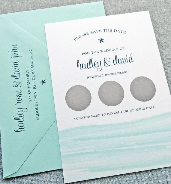 Hadley Watercolor Waves Scratch Off Save the Date Sample