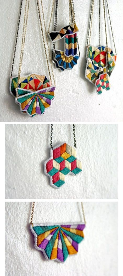 I absolutely love it when someone comes up with a way to use traditional craft and sewing techniques in a unique and contemporary way. These embroidered necklaces by Spinthread are outstanding - fabulous use of colour and shapes. Truly wearable art. You can read an interview with the 21 year old designer, Lorena here or shop here.