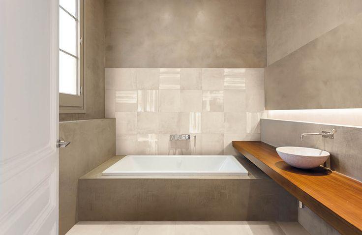 Betonlook tegel in badkamer