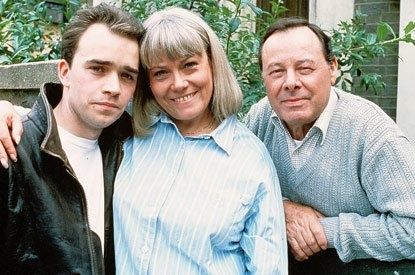 Martin, Pauline and Arthur Fowler played by Todd Carty, Wendy Richards and Bill Treacher.