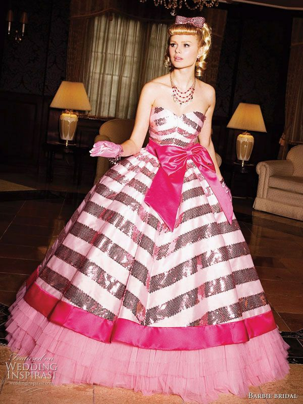 fairytale fantasy ball gown. Black sequin stripes and three types of pink. Oh, and a huge bow.