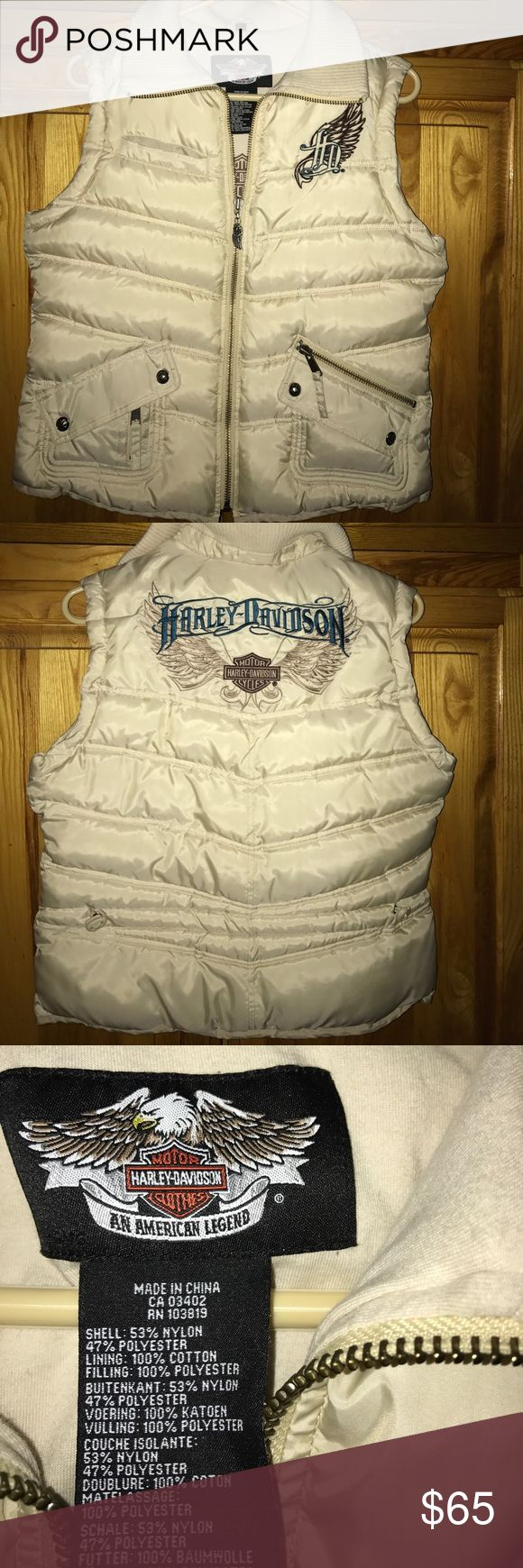 Harley Davidson vest Absolutely adorable cream colored Harley Davidson zip up vest  with beautiful blue and brown embroidery on the back and front upper left  side ....worn once !!! Harley-Davidson Jackets & Coats Vests