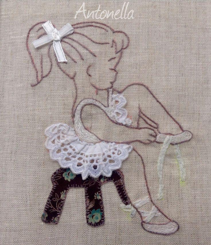 Born to dance. Appliquè e #Borntodance. #Appliquè e #ricamo #dance #dancer #baby #girl #bow #tutu #white #style #embroidery #profilo #cute #little #quadro #quadretto #handmade #diy #bordados #beautiful #petitedanseuse #petitericamo