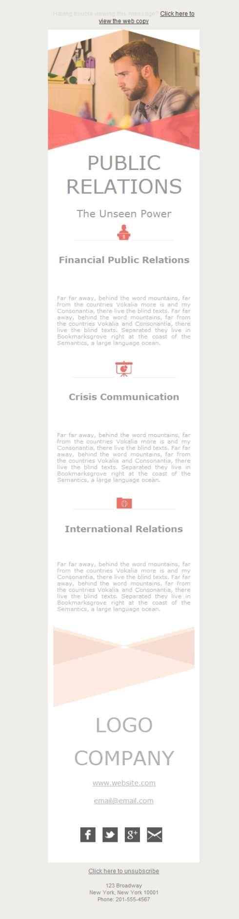 Versión responsive de plantillas newsletter para  agencias de relaciones públicas, llegarás a todos tus clientes.