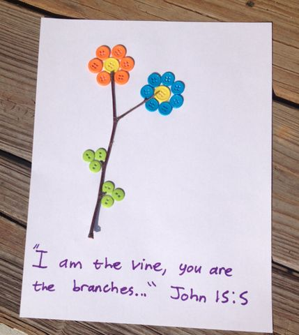 I am the vine button craft for kids for Vine craft ideas