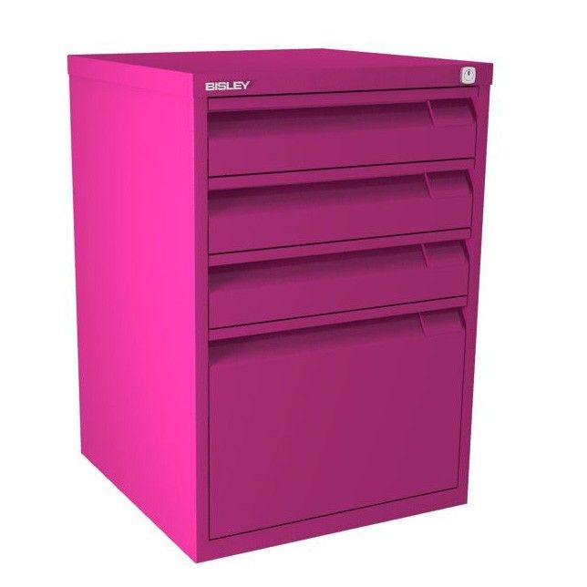 4 Drawer F Series Flush Front - Fuchsia | With unobtrusive flush-fronted drawers, this Bisley F Series Filing Cabinet is fully lockable for security and gives your a lower filing drawer suitable for foolscap suspension files.