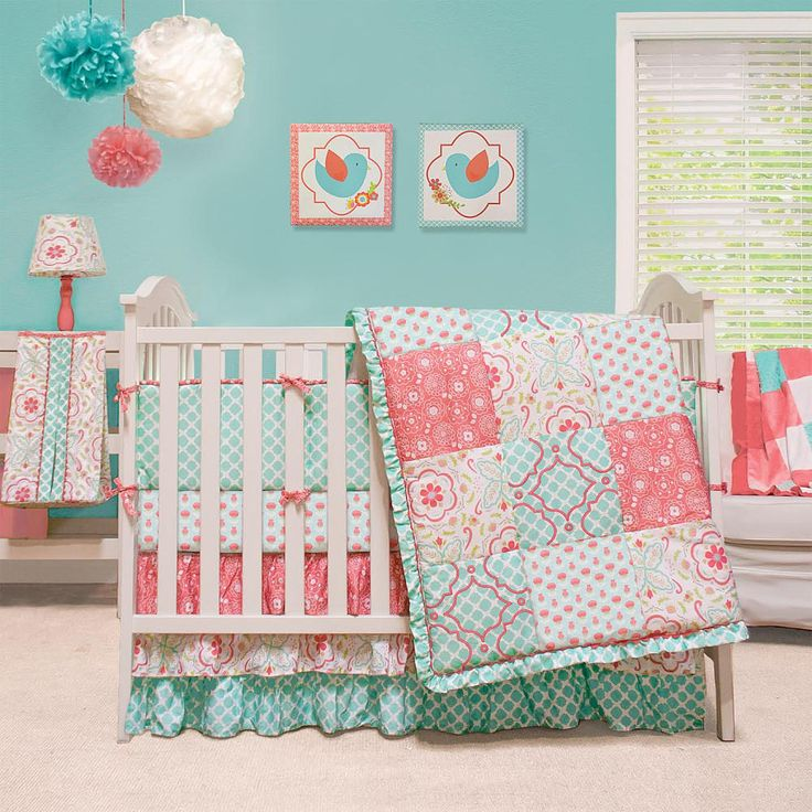 "The Peanut Shell Mila 4 Piece Crib Bedding Set - Peanut Shell - Babies ""R"" Us - coral and aqua/turquoise"