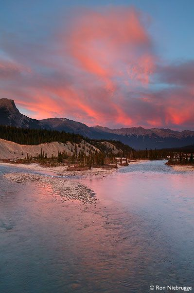 ..SASKATCHEWAN RIVER AT SUNSET,  Banff National Park, Alberta, Canada, Canadian Rockies..